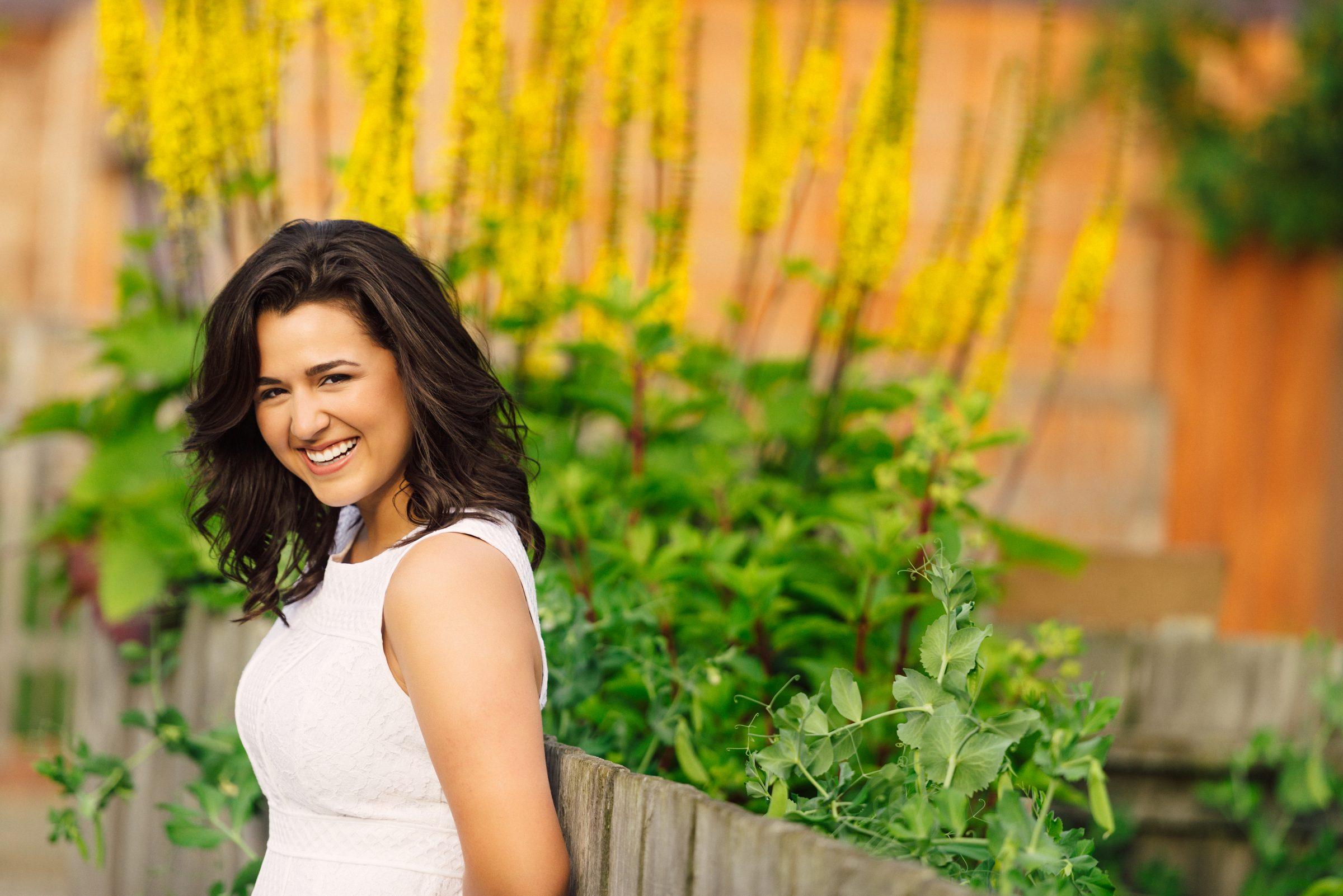 senior girl brunette summer dress summer flower pictures